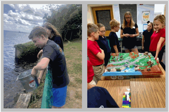 Middle School Students testing river water samples and learning from RiverKeeper representative
