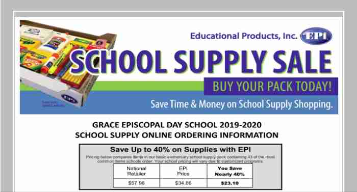 School Supplies Order Flyer