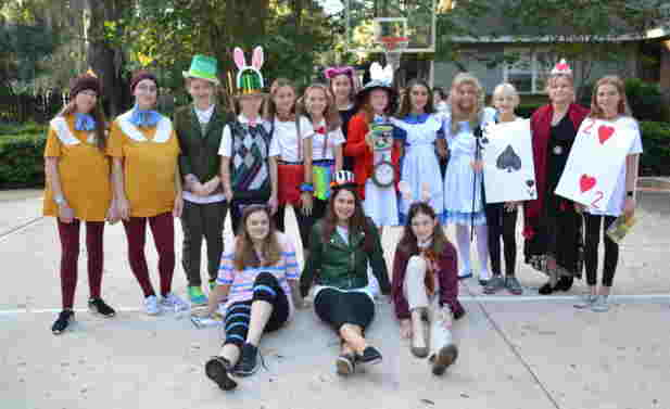 Group of students dressed in costumes