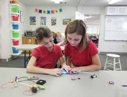 two girls exploring with LittleBits