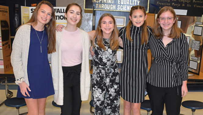Five middle school girls National History Day Clay County winners