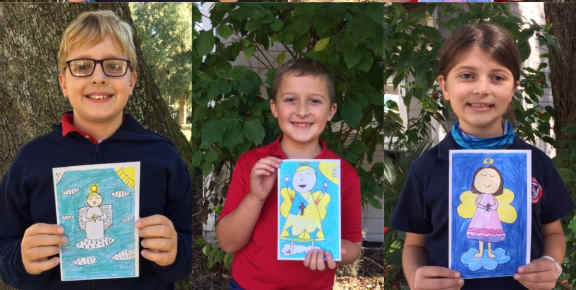 Three students displaying Angels of Allison card creations