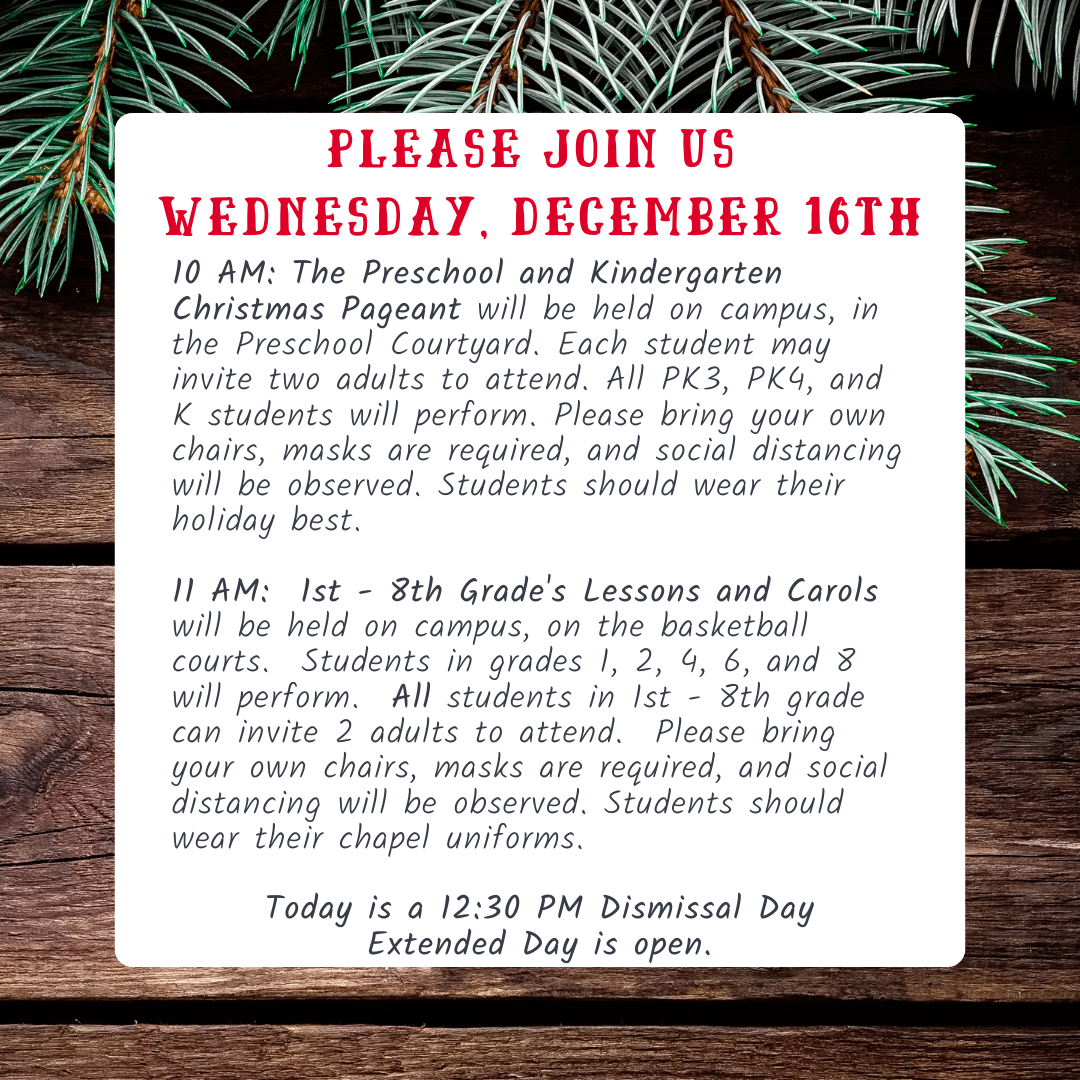 Holiday programs schedule